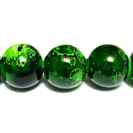 Margele sticla verzi, galactic, 14mm 1 buc