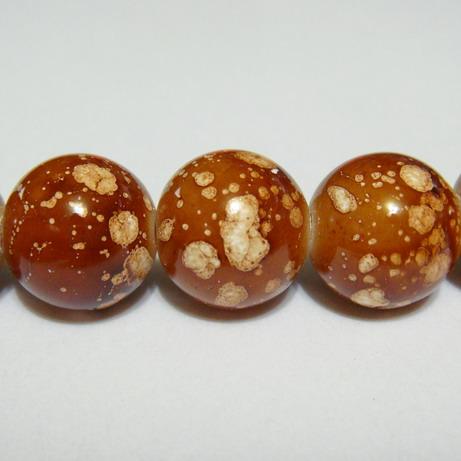 Margele sticla maro, galactic, 14mm 1 buc