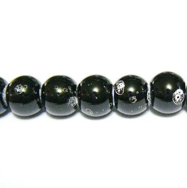 Margele sticla negre, galactic, 6mm 10 buc