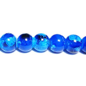 Margele sticla albastre, galactic, 8mm 10 buc