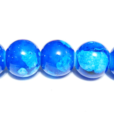 Margele sticla albastre, galactic, 10mm 10 buc