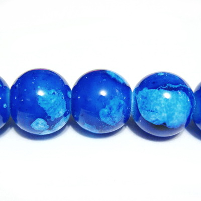 Margele sticla albastre, galactic, 12mm 1 buc