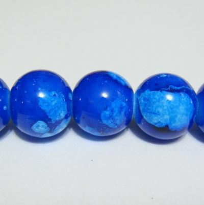 Margele sticla albastre, galactic, 14mm 1 buc