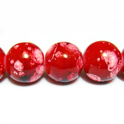 Margele sticla rosii, galactic, 14mm 1 buc
