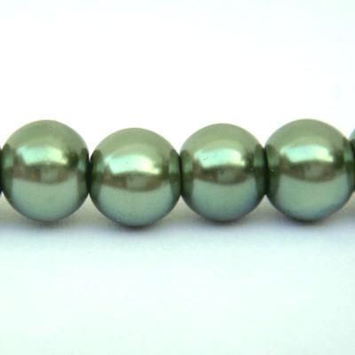 Perle sticla verde-kaky 6mm 10 buc