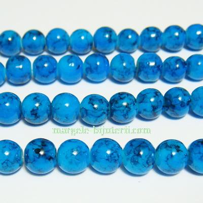 Margele sticla rotunde turcoaz 8 mm 10 buc