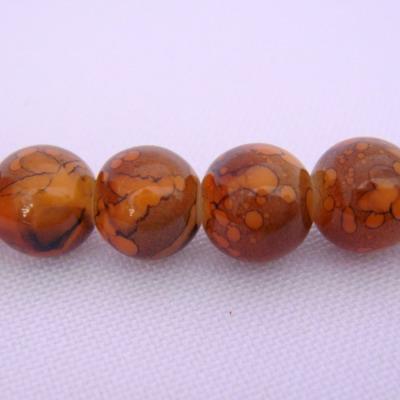 Margele sticla rotunde caramel 8 mm 10 buc