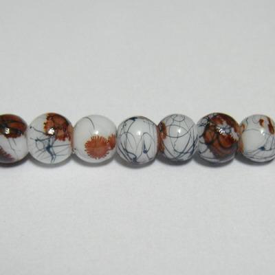 Margele sticla albe vopsite cu pete maro, 6mm 10 buc