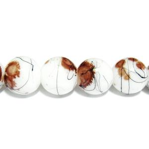 Margele sticla albe vopsite cu pete maro, 10mm 10 buc
