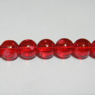 Margele sticla transparente rosii, galactic, 8mm 10 buc