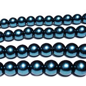 Perle sticla, bleu-verzui,  8mm 10 buc