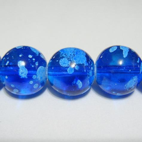 Margele sticla transparente albastre, galactic, 14mm 1 buc