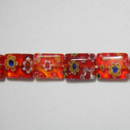 Margele sticla Millefiori rosii 10x8mm 1 buc
