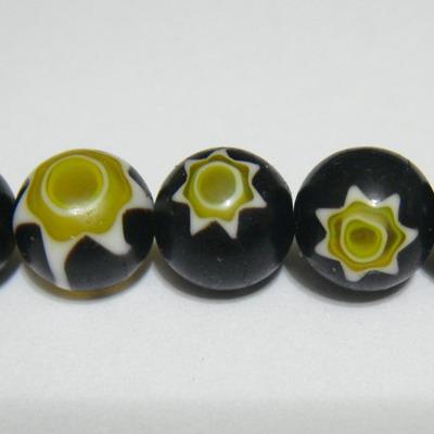 Margele millefiori negre cu galben 12mm 1 buc