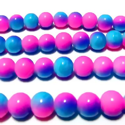 Margele sticla rotunde roz-alb-albastre 10 mm 1 buc