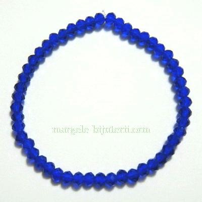 Bratara margele sticla multifete albastru inch., 4x3mm 1 buc