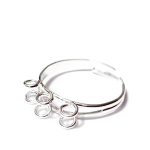 Baza inel, argintie, reglabila, cu 6 bucle 1 buc
