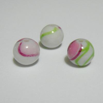 Margele plastic pictate cu roz, 10mm 1 buc