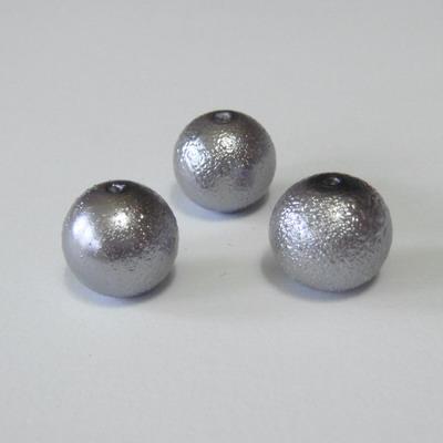 Perle sticla, stardust, gri, 12mm 1 buc
