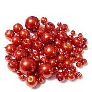 Mix perle sticla portocaliu inchis(aramiu), 4-12 mm 25 g