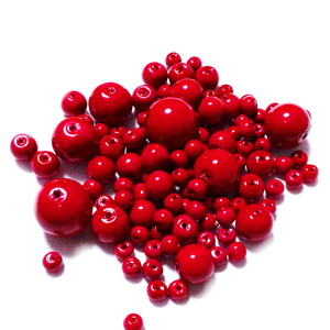 Mix margele sticla rosii, 4-12 mm-cca 25 gr 1 buc