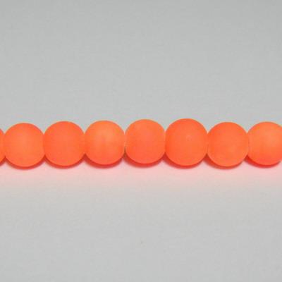 Margele sticla cauciucate, portocaliu fosforescent, 6mm 10 buc