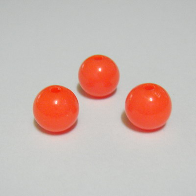 Margele plastic roz-portocaliu, 8mm, orificiu 1.5mm 10 buc