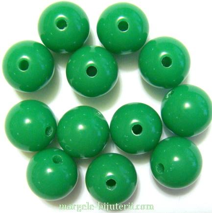 Margele plastic, sferice, verzi, 10mm 10 buc