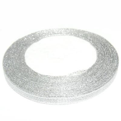 Panglica lurex argintie, 7mm 1 rola 25 m