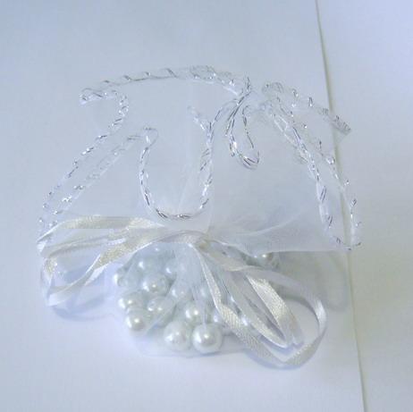 Saculeti organza albi cu diametrul de 22 cm 1 buc