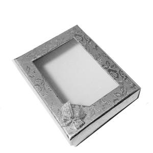 Cutie cadou argintie, cu fereastra,  85X65X25mm 1 buc