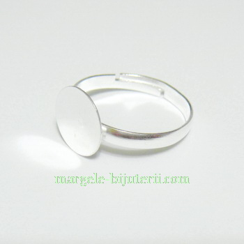 Baza inel argintie, platou 10 mm 1 buc