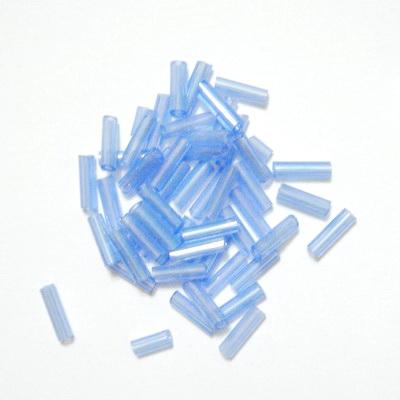 Margele tubulare albastru-deschis cu reflexe, 7mm 20 g