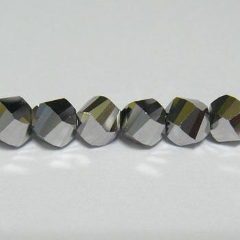 Margele sticla argintii, 4 fete, 6mm 1 buc