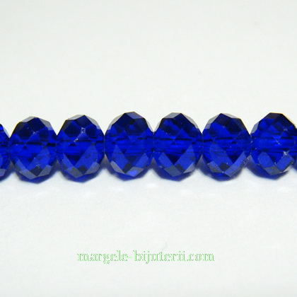 Margele sticla,  albastrU-cobalt, multifete 8x6mm 1 buc