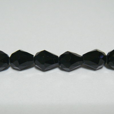 Margele sticla multifete negre, lacrima 7x6 mm 1 buc