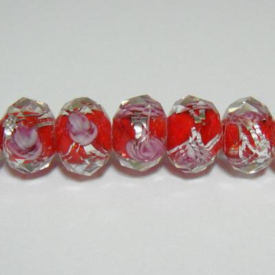 Margele sticla, lampwork, multifete, rosii cu argintiu, 12x9mm 1 buc