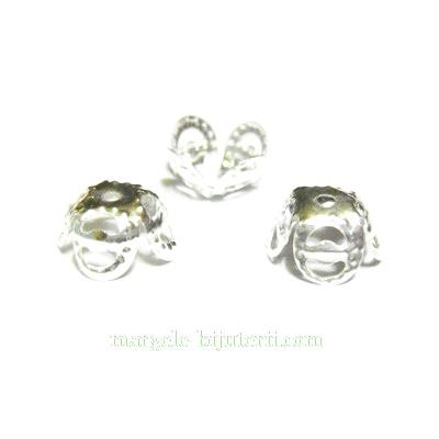 Capacel filigran argintiu, 4 petale, 9x4 mm 10 buc