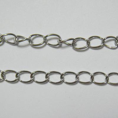 Lant argintiu inchis, zale 6x5 mm, grosime zale-0.9mm 1 m