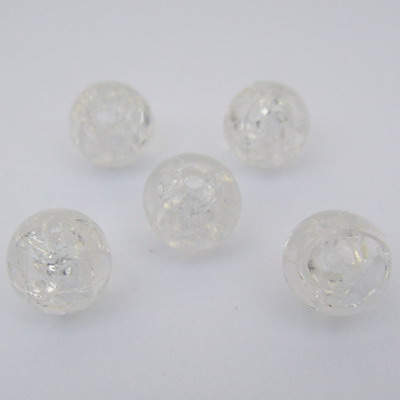 Margele plastic crackle transparente 8mm 10 buc