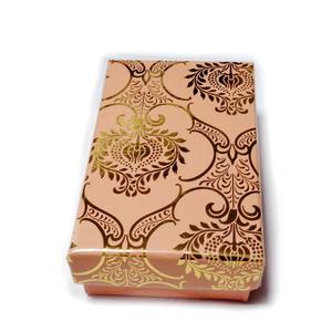 Cutie carton roz cu imprimeu auriu, 8x5x2.5cm 1 buc