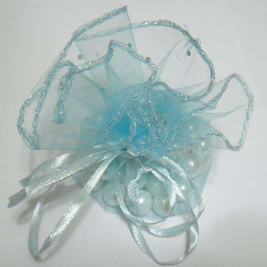 Saculet organza bleu cu picatele, diametru 32 cm 1 buc