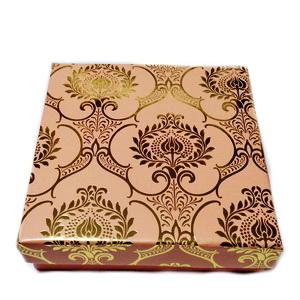Cutie carton, roz cu auriu, 8.5x8.5x2.5cm 1 buc