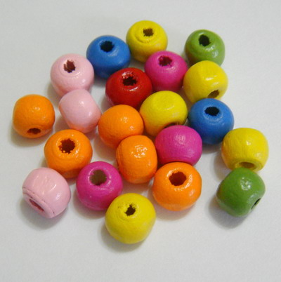 Margele lemn sferice, multicolore, 6mm 30 buc