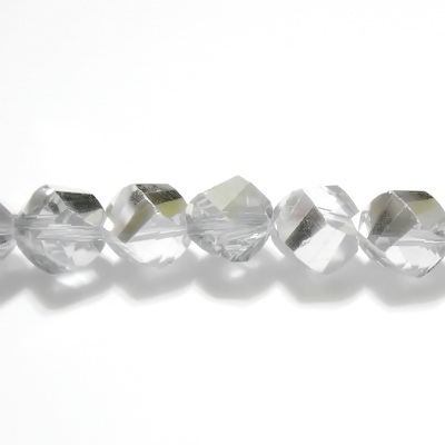 Margele sticla argintii-semitransparente, 4 fete, 6mm 10 buc