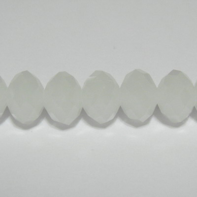 Margele sticla multifete albe, imitatie jad, 10x8mm 1 buc