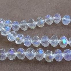 Margele sticla multifete transparente AB, 10x8mm 1 buc