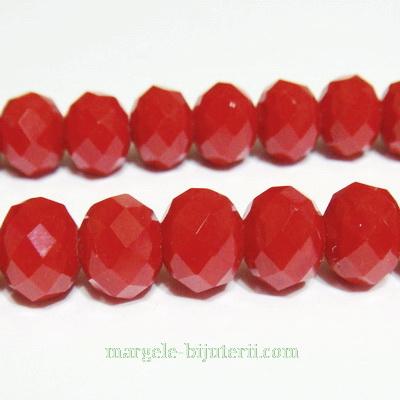 Margele sticla multifete rosii-coral, 10x8mm 1 buc