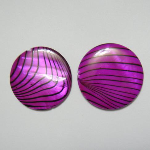 Perle plate sidef mov cu negru, 25x3mm, orificiu 1mm 1 buc