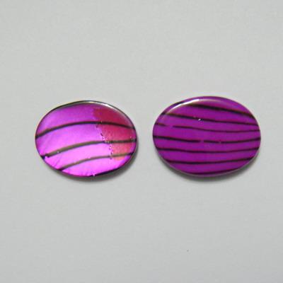 Perle plate sidef mov cu negru, 17x13x3mm, orificiu 1mm 1 buc